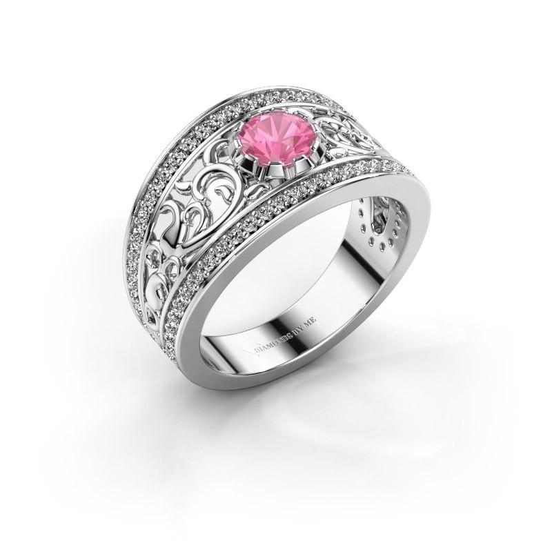 Ring Marilee 585 witgoud roze saffier 5 mm