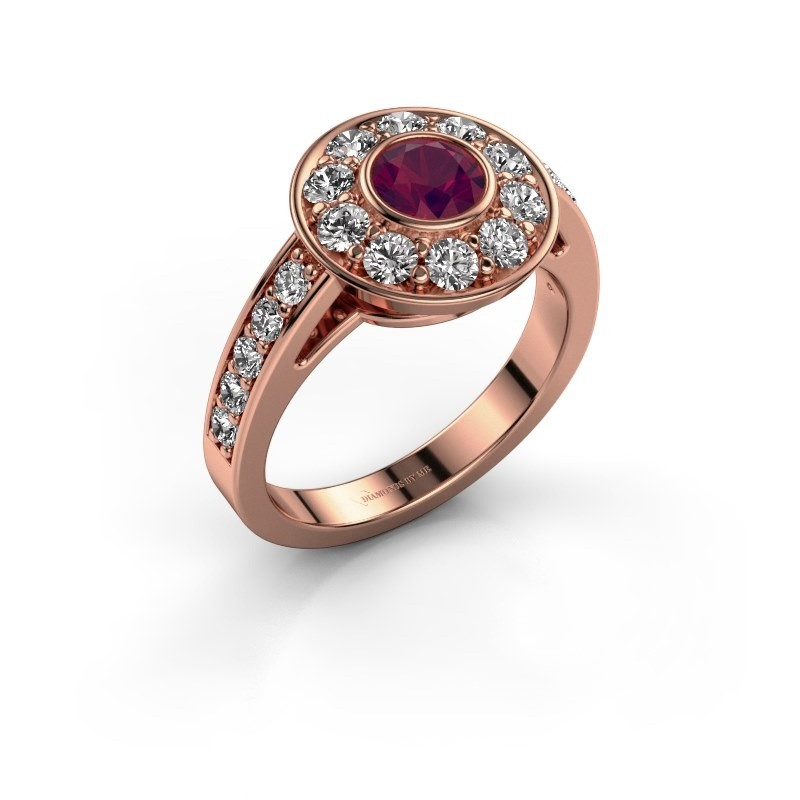 Verlovingsring Raven 2 375 rosé goud rhodoliet 5 mm