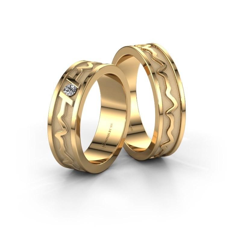 Trouwringen set WHR0442LM ±5x1.7 mm 14 karaat goud diamant 0.06 crt