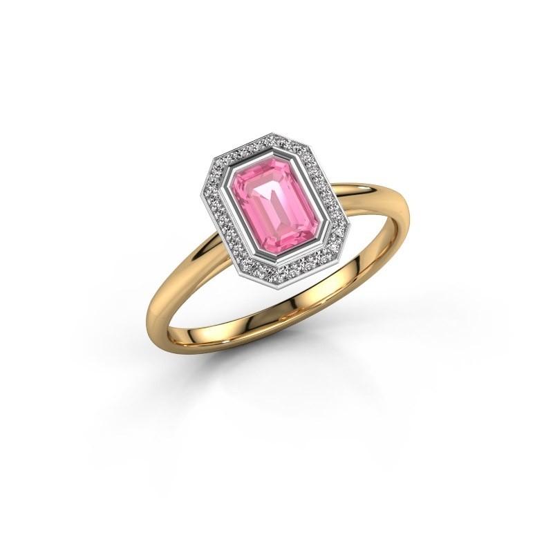 Verlovingsring Noud 1 EME 585 goud roze saffier 6x4 mm