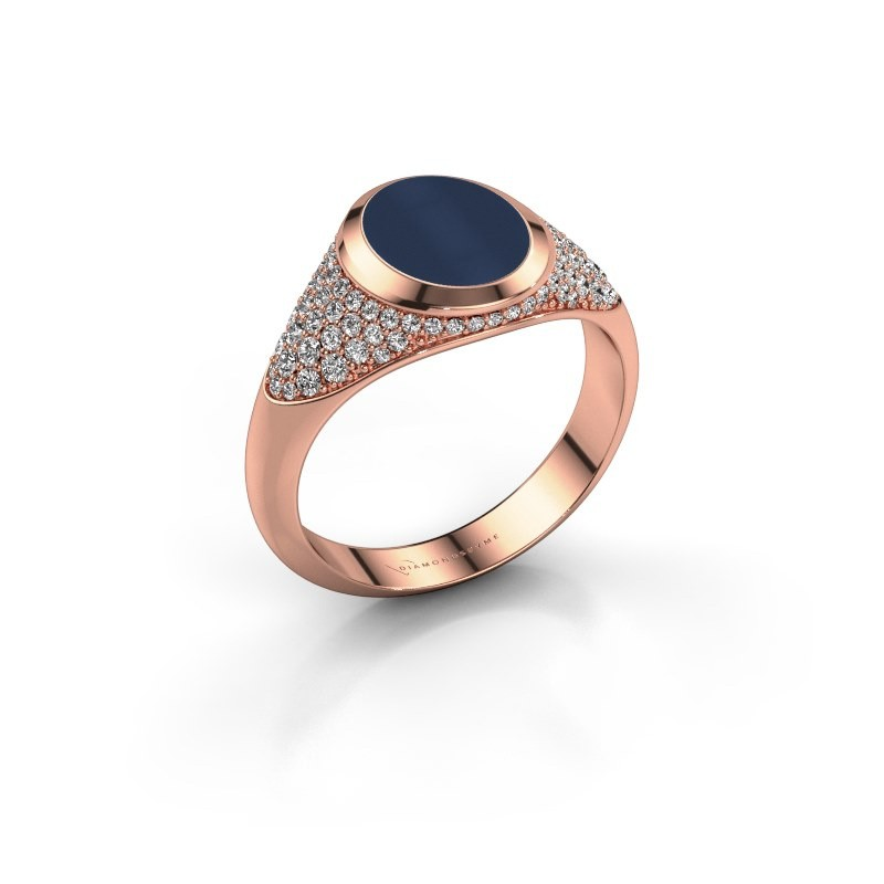 Signet ring Susana 375 rose gold dark blue sardonyx 10x8 mm