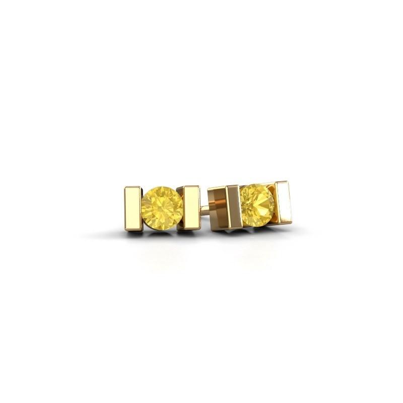 Oorstekers Lieve 585 goud gele saffier 3.7 mm