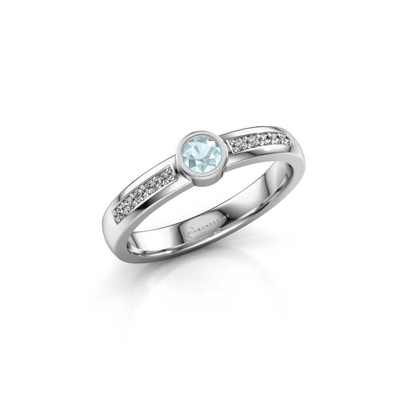 Engagement ring Ise 2 585 white gold aquamarine 3.7 mm