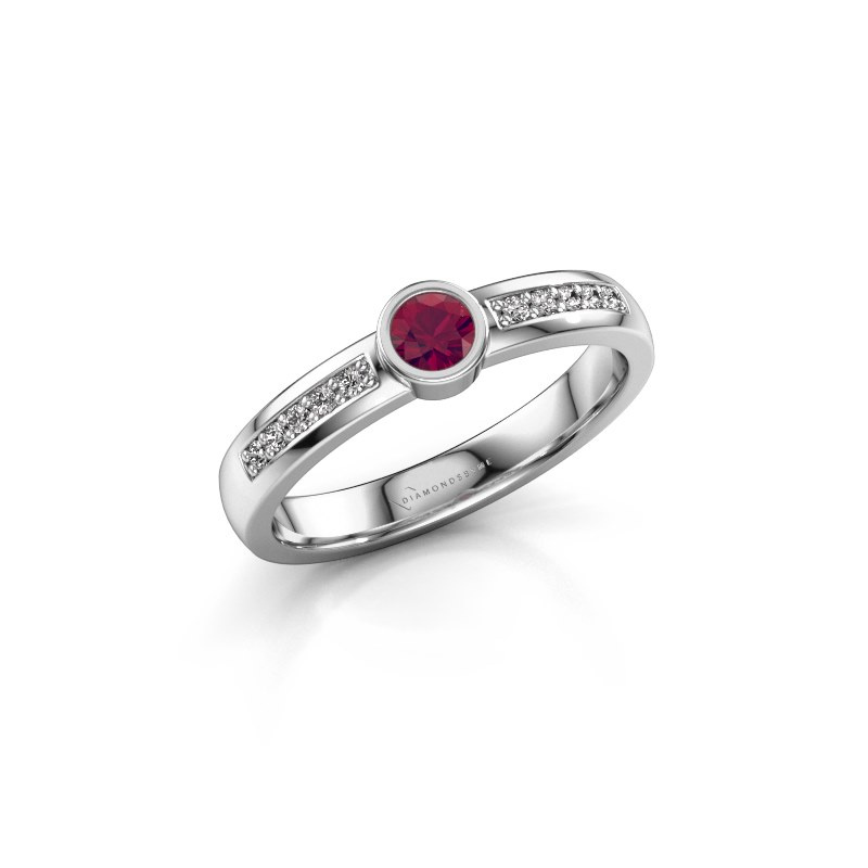 Engagement ring Ise 2 925 silver rhodolite 3.7 mm