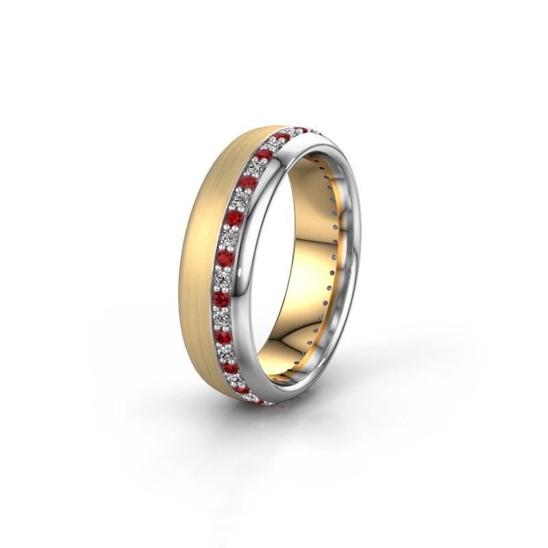 Trouwring WH0303L36BMP 585 goud robijn ±6x2 mm