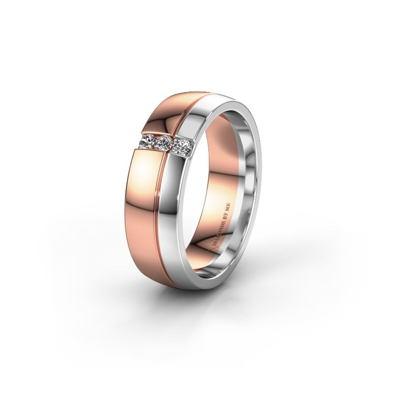 Trouwring WH0223L56A 585 rosé goud lab-grown diamant ±6x1.7 mm