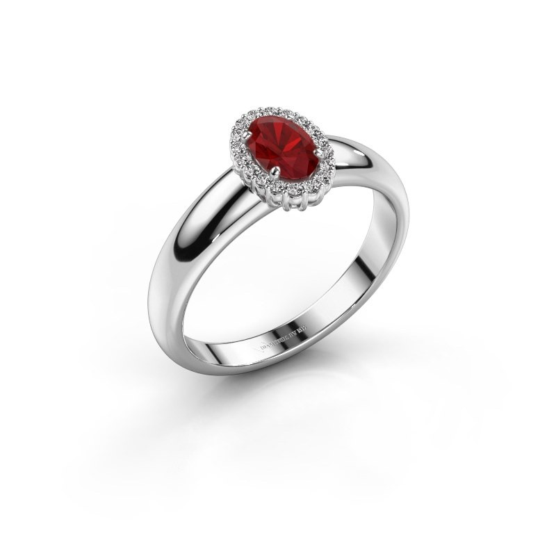 Engagement ring Tamie 585 white gold ruby 6x4 mm