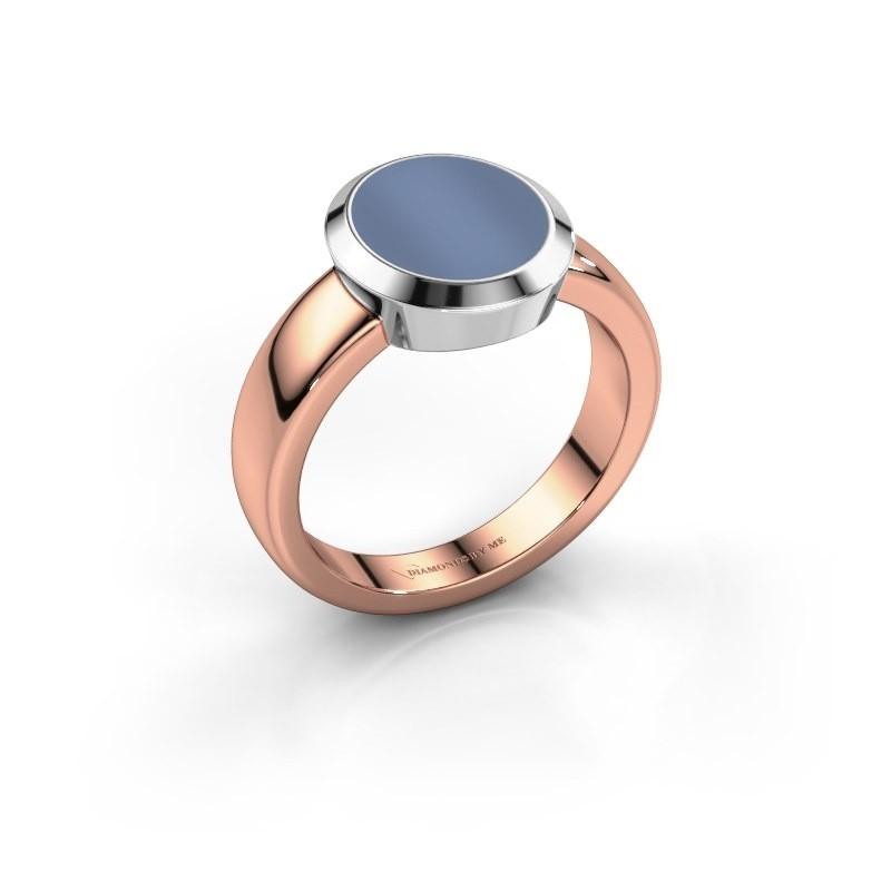 Zegelring Oscar 2 585 rosé goud licht blauwe lagensteen 11x9 mm