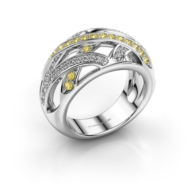 Ring Yinthe 925 silver yellow sapphire 1.5 mm