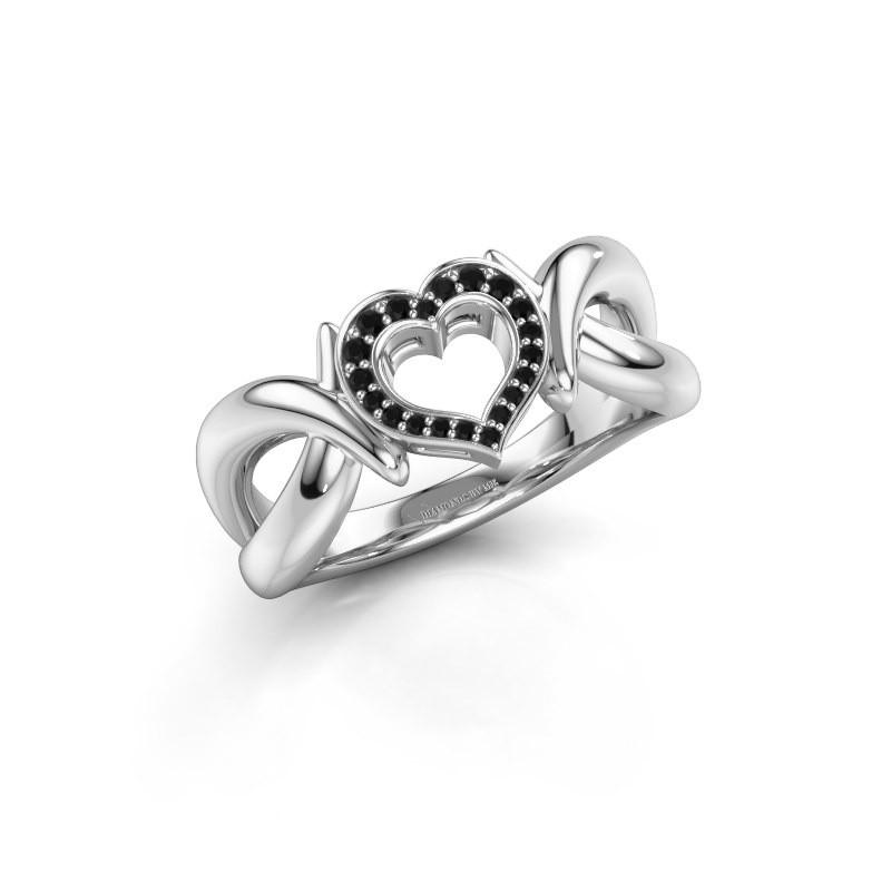 Ring Earlie 1 585 witgoud zwarte diamant 0.092 crt
