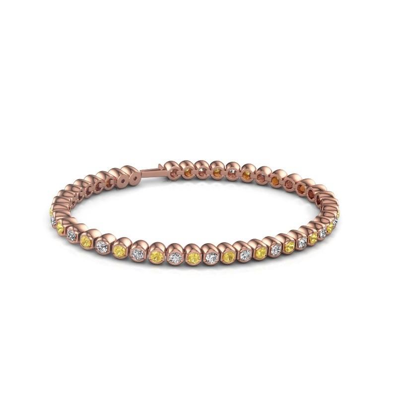 Tennisarmband Asley 375 rosé goud gele saffier 3 mm
