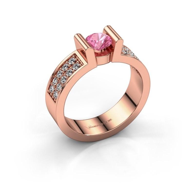 Verlovingsring Sofie 3 585 rosé goud roze saffier 5 mm