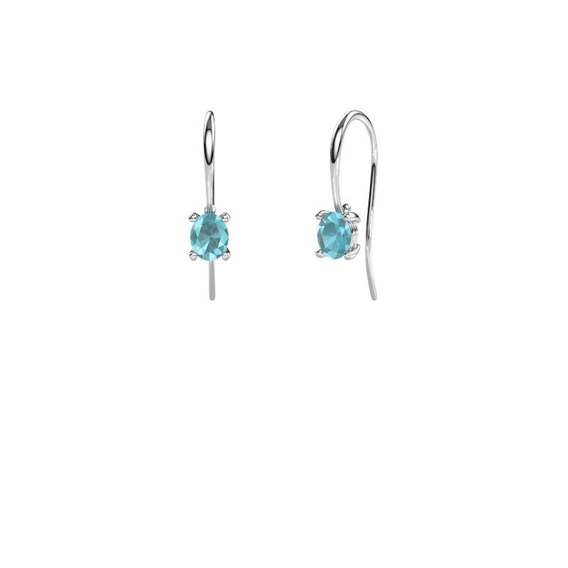 Pendants d'oreilles Cleo 375 or blanc topaze bleue 6x4 mm