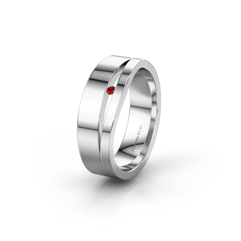 Wedding ring WH6000L16AP 585 white gold garnet ±0.24x0.07 in