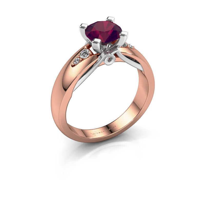 Verlovingsring Ize 585 rosé goud rhodoliet 6.5 mm