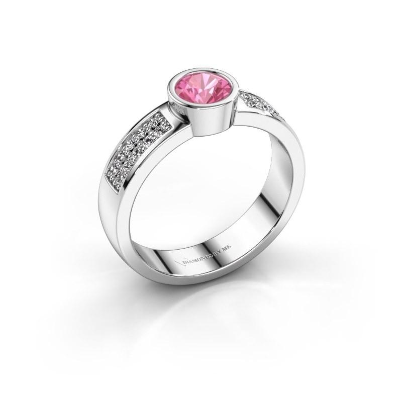 Verlovingsring Ise 3 950 platina roze saffier 4.7 mm