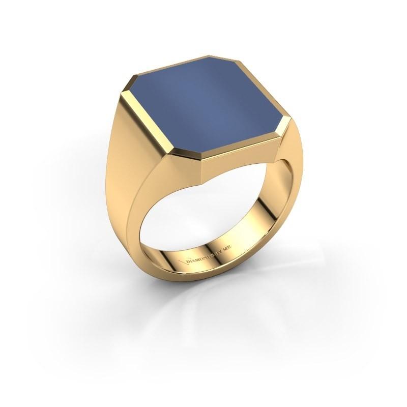 Zegelring Lars 5 585 goud blauw lagensteen 16x13 mm