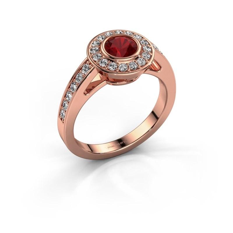 Verlovingsring Raven 1 375 rosé goud robijn 5 mm
