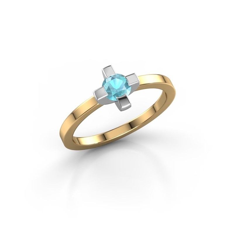 Ring Therese 585 goud blauw topaas 4.2 mm