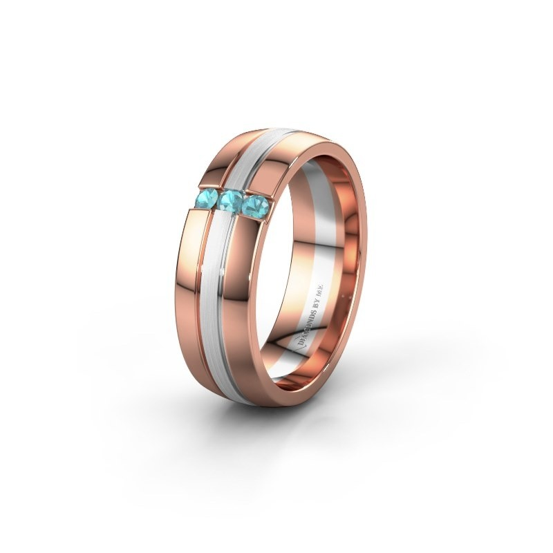 Wedding ring WH0426L26A 585 rose gold blue topaz ±0.24x0.07 in