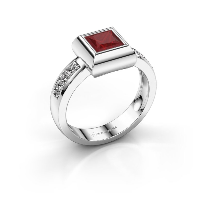 Ring Charlotte Square 925 silver ruby 5 mm