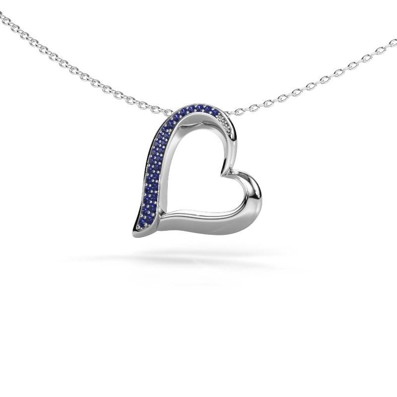 Halsketting Heart 1 925 zilver saffier 1.2 mm