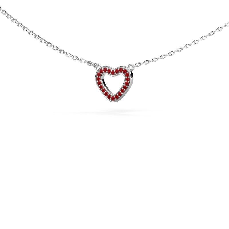 Anhänger Heart 4 925 Silber Rubin 0.8 mm