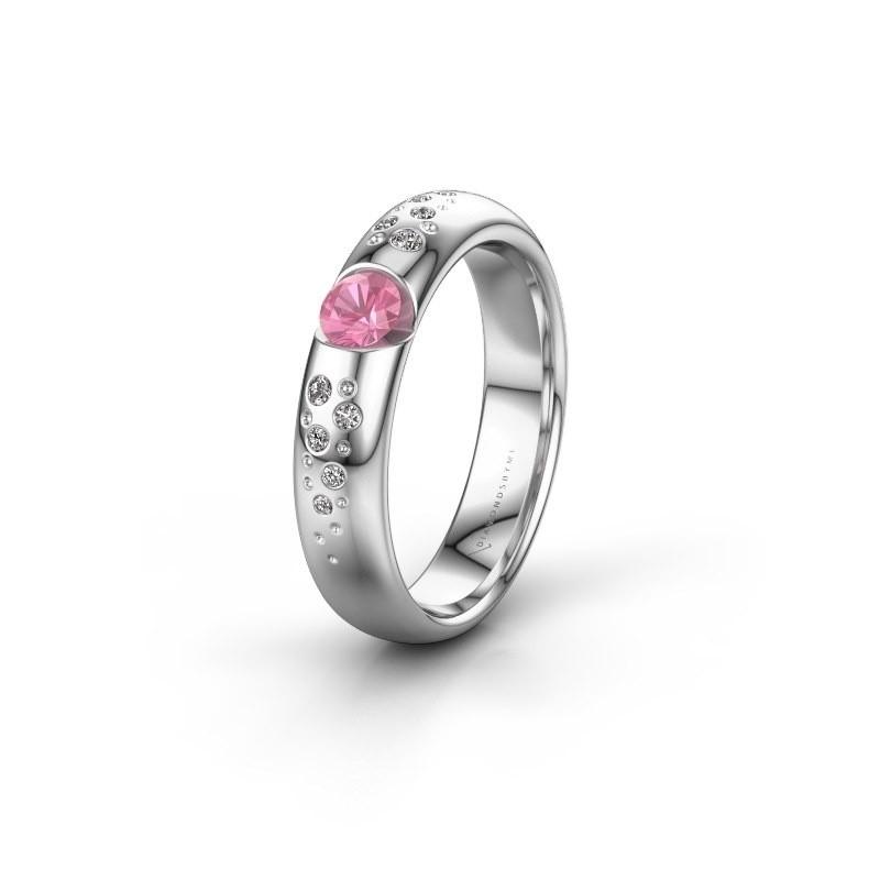 Trouwring WH2104L34A 950 platina roze saffier ±4x1.7 mm