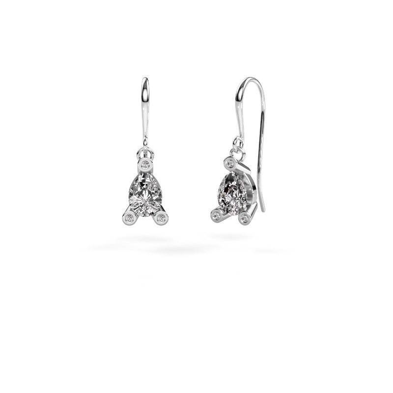 Drop earrings Bunny 1 375 white gold zirconia 7x5 mm