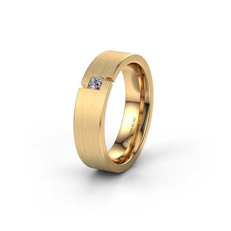 Trouwring WH2040L 375 goud diamant ±5x2.2 mm