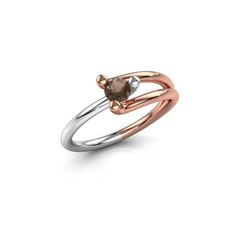 Engagement ring Roosmarijn 585 rose gold smokey quartz 4 mm