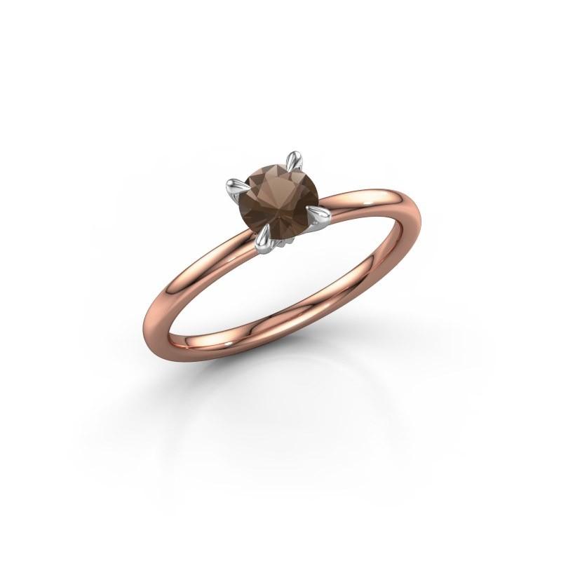 Verlovingsring Crystal RND 1 585 rosé goud rookkwarts 5 mm