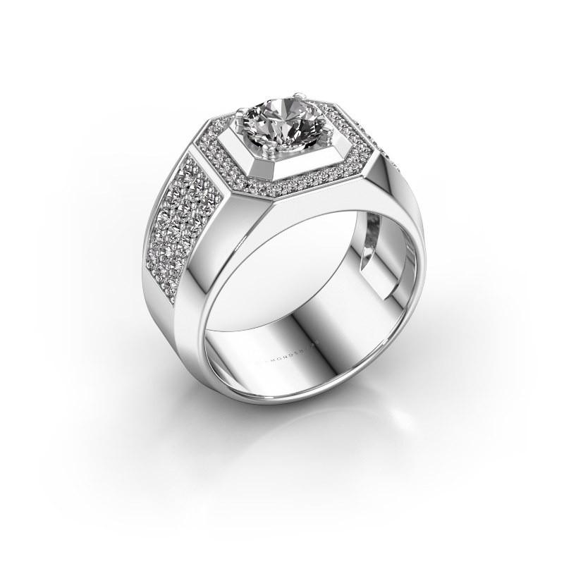 Heren ring Pavan 375 witgoud diamant 1.918 crt
