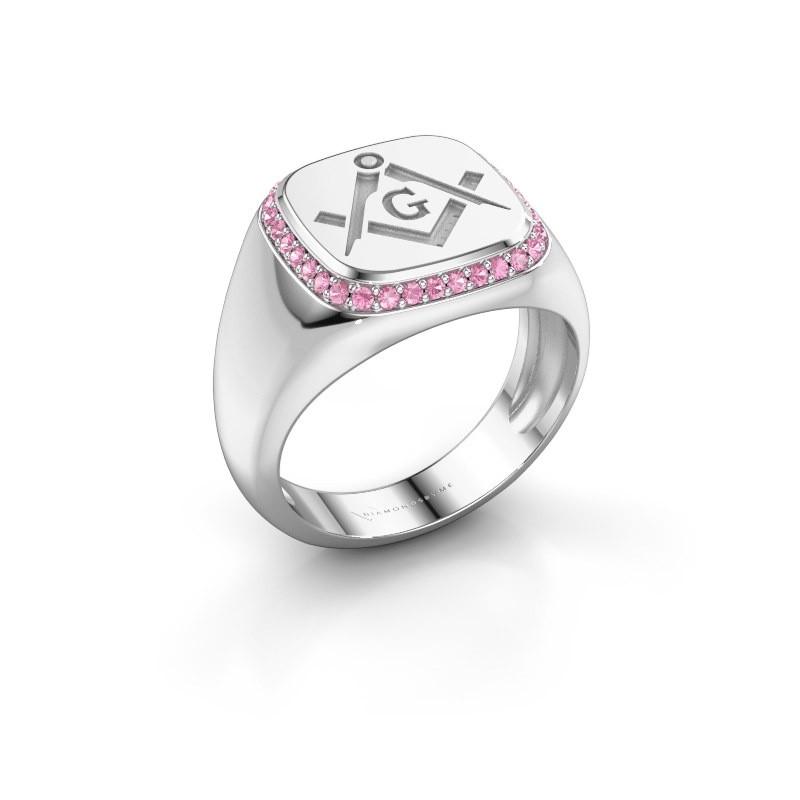 Men's ring Johan 925 silver pink sapphire 1.2 mm