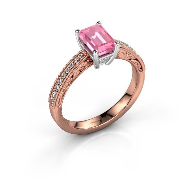 Verlovingsring Shonta EME 585 rosé goud roze saffier 7x5 mm