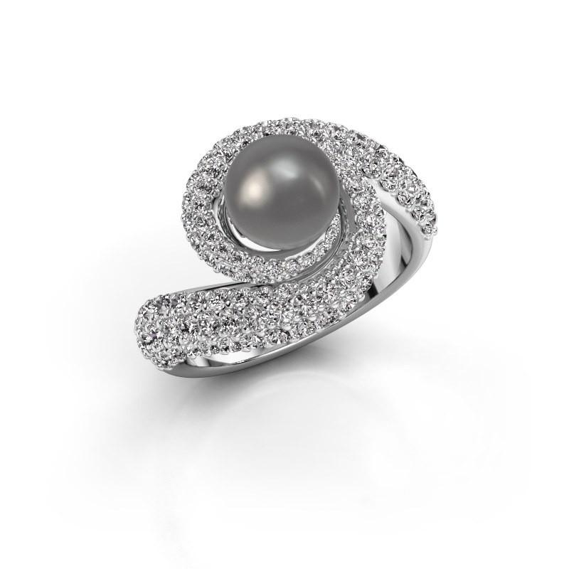 Ring Klasina 585 witgoud grijze parel 7 mm