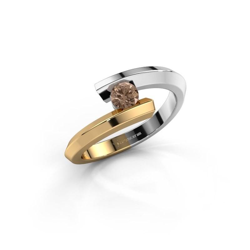Ring Paulette 585 white gold brown diamond 0.15 crt
