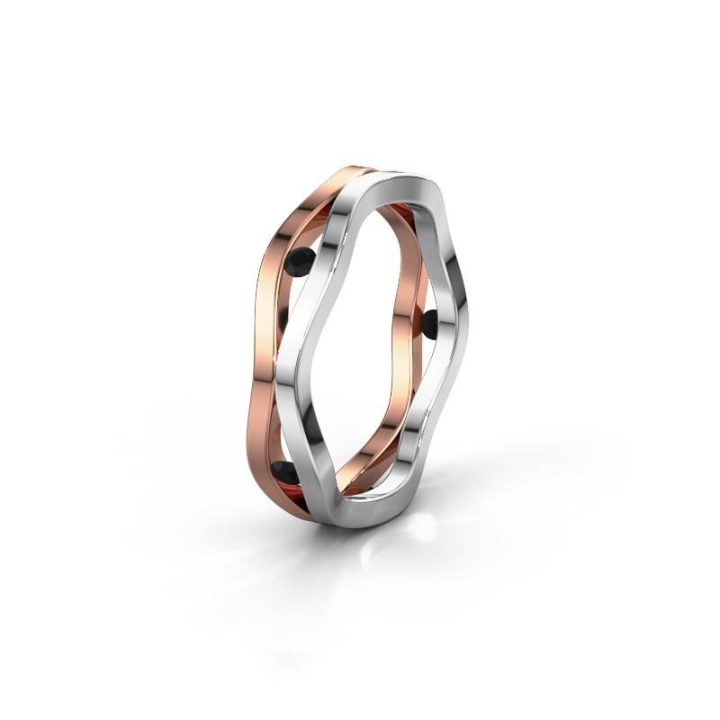 Trouwring WH2122L 585 rosé goud zwarte diamant ±5x1.8 mm
