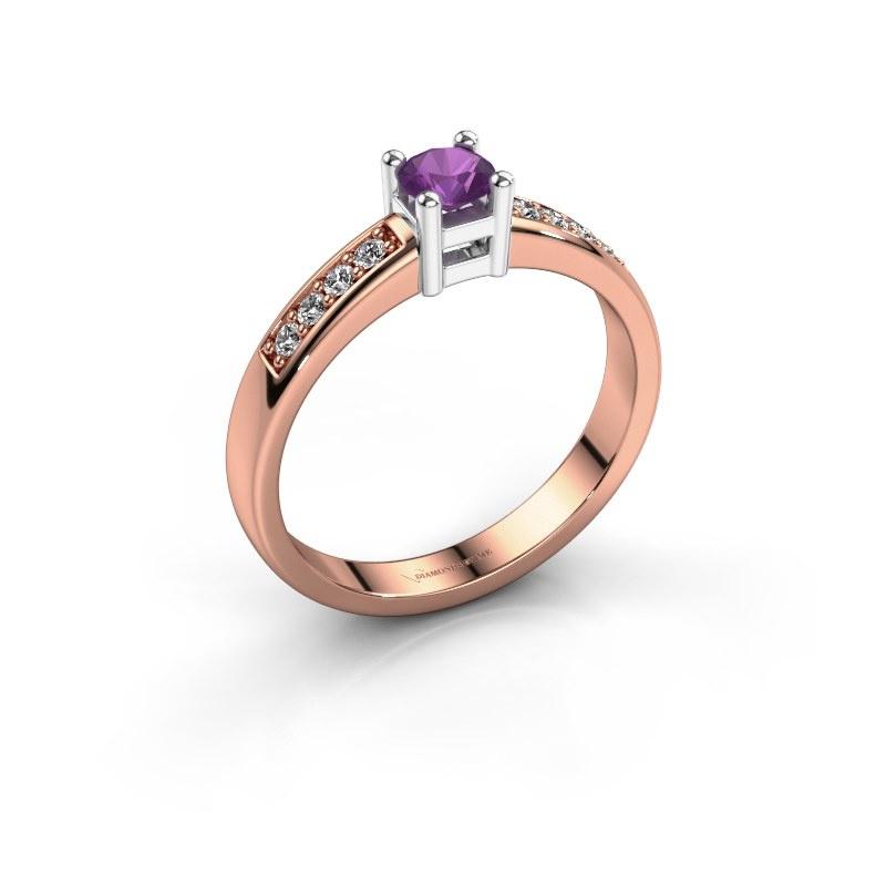 Engagement ring Eline 2 585 rose gold amethyst 3.7 mm