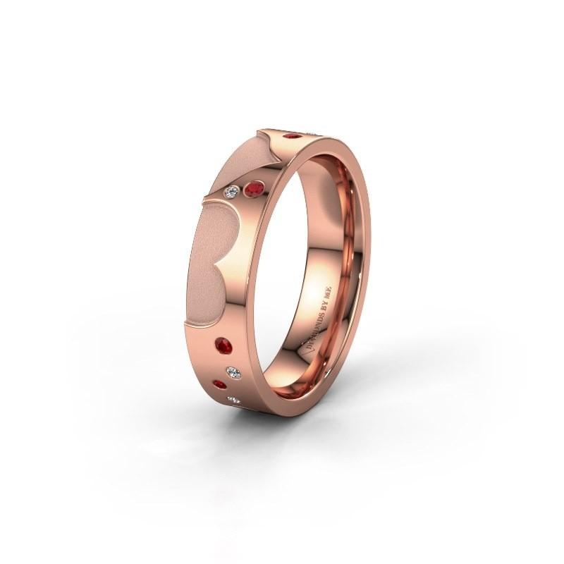 Trouwring WH2114L25A 375 rosé goud robijn ±5x1.7 mm