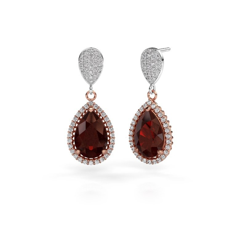 Drop earrings Cheree 2 585 rose gold garnet 12x8 mm