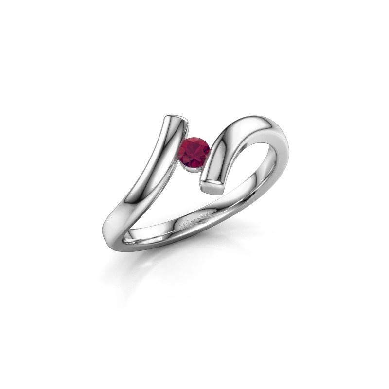 Ring Amy 585 witgoud rhodoliet 3 mm