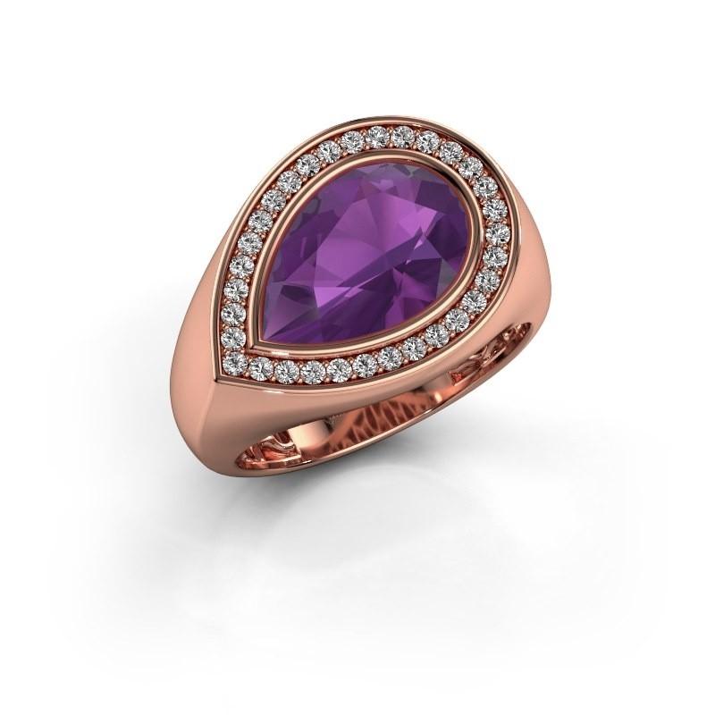Ring Latashia 375 rosé goud amethist 12x8 mm