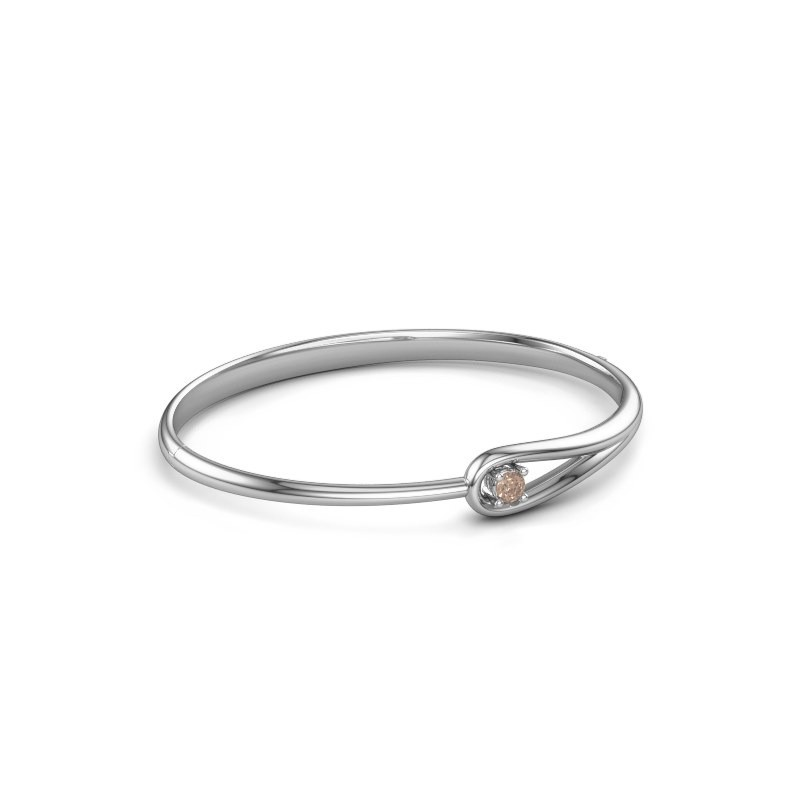 Slavenarmband Zara 585 witgoud bruine diamant 0.25 crt