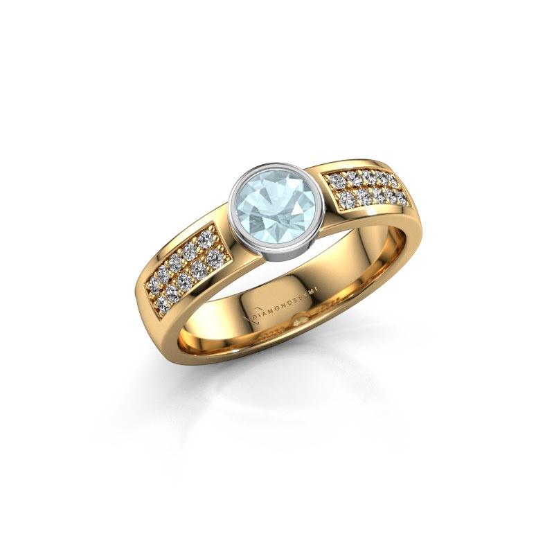 Engagement ring Ise 3 585 gold aquamarine 4.7 mm