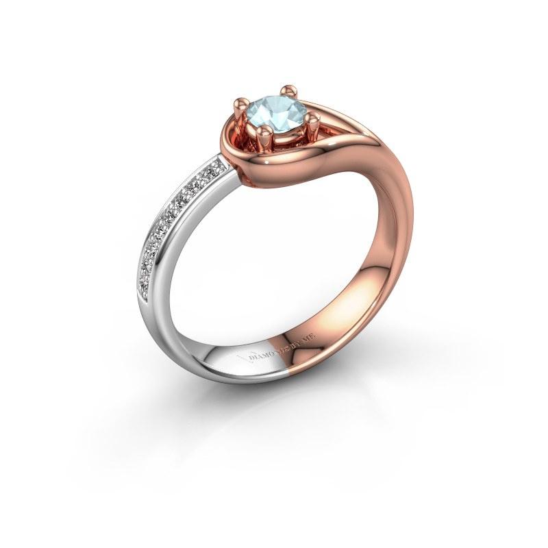 Ring Zara 585 rosé goud aquamarijn 4 mm