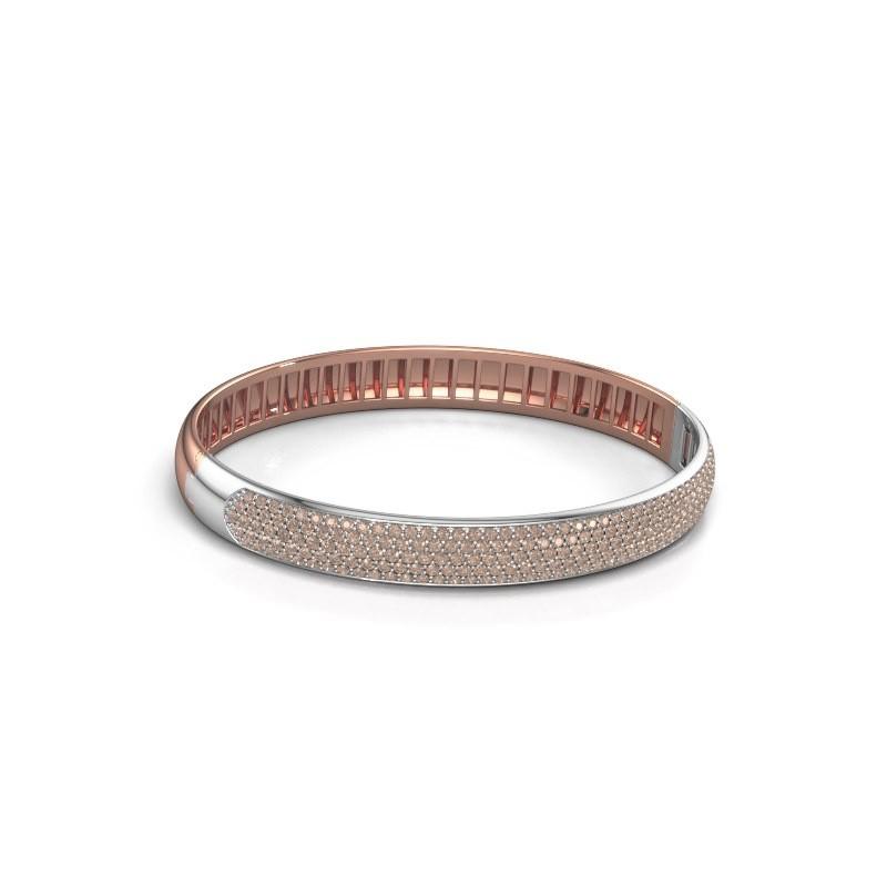 Slavenarmband Emely 8mm 585 rosé goud bruine diamant 3.036 crt