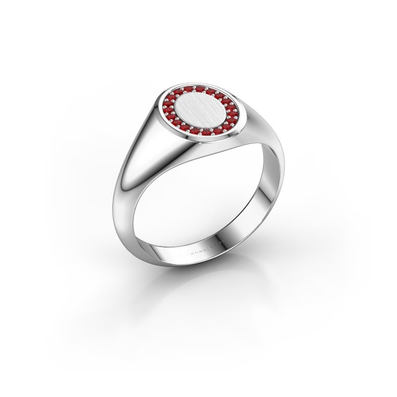 Pinky ring Floris Oval 1 375 white gold ruby 1.2 mm