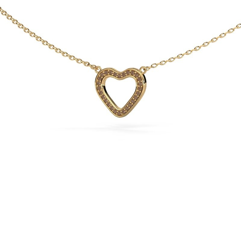 Hanger Heart 3 375 goud bruine diamant 0.07 crt