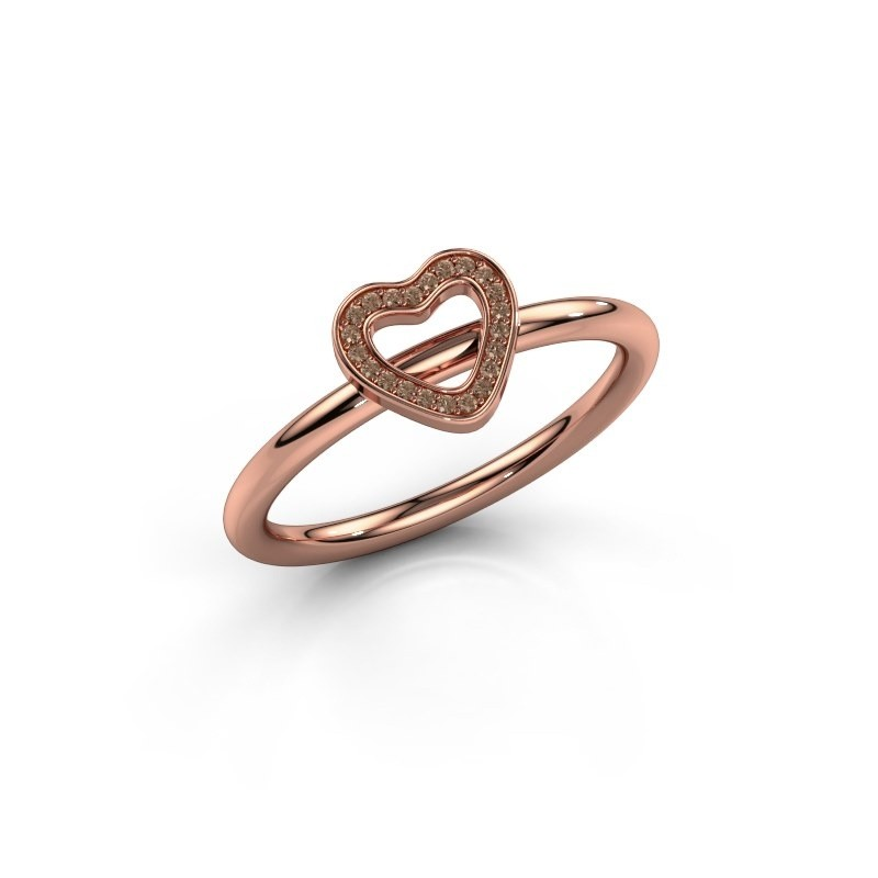 Ring Shape heart small 375 rosé goud bruine diamant 0.055 crt